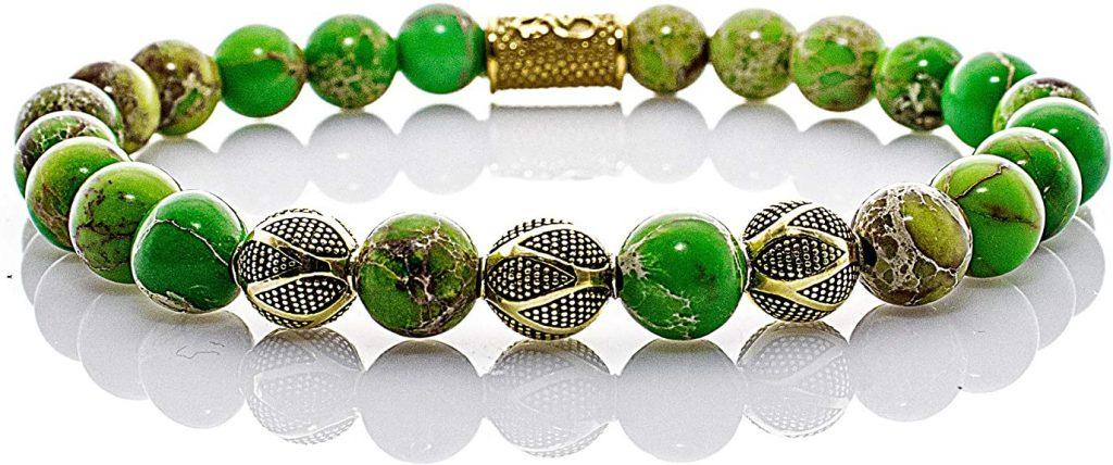 Angelo Silenzio Bracciale di perle Green Sea Diaspro Perle, Excelsior Oro Argento Sterling 925