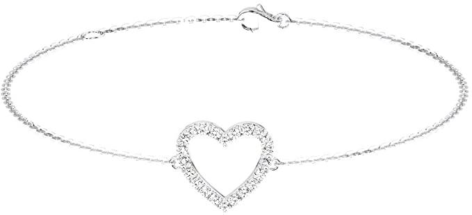 Bracciale a forma di cuore in platino 950 con pavé di diamanti taglio brillante da 0,20 carati