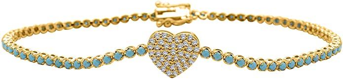Bracciale tennis con turchese da 1,50 mm e diamante reale da 0,20 ct [lunghezza da 6,5 a 8 disponibili] in oro giallo 14 K
