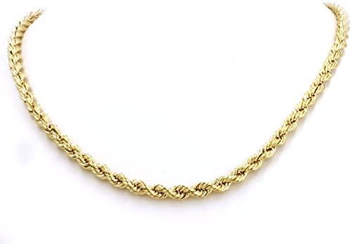 Catena a corda in oro giallo 14 carati/585 da 2,5 mm, unisex, di diverse lunghezze