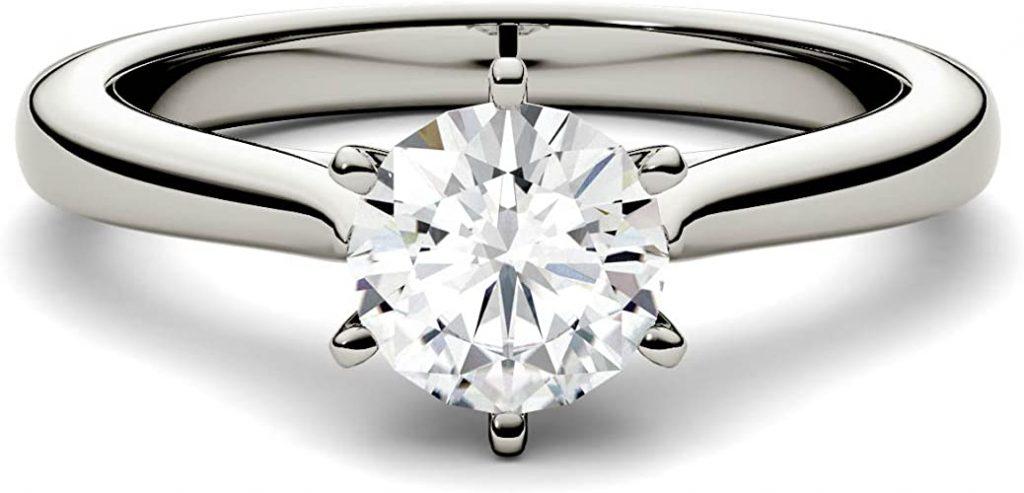 Charles & Colvard Moissanite By Charles & Colvard anello di fidanzamento - oro bianco con 14K - Moissanite da 5 mm con taglio rotondo, 0.5 kt.