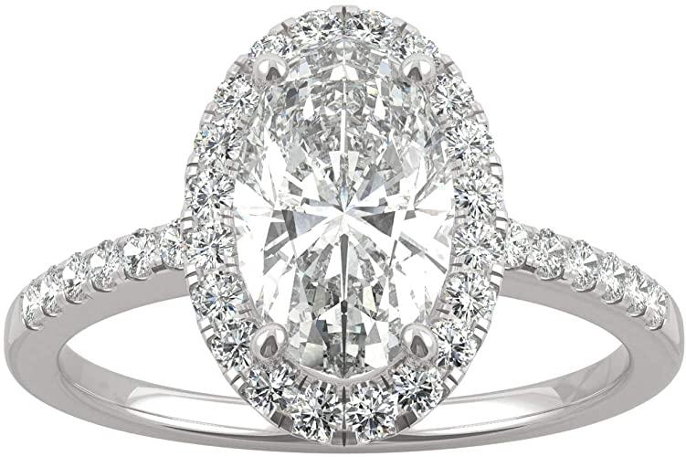 Charles & Colvard Moissanite By Charles & Colvard anello di fidanzamento - oro con 14K - Moissanite da 10 mm con taglio ovale, 2.62 kt.