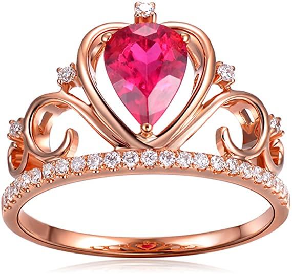 Corona rosa Pietra preziosa Tormalina 585/1000 (14 carats) 14K Oro rosa Naturale Diamante Nozze Promettere anello per donne