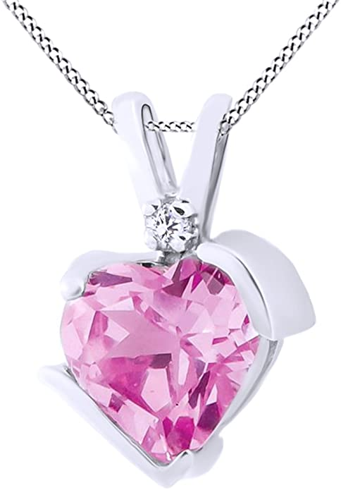 Cuore taglio simulato tormalina rosa con bianco diamante solitario collana in oro 10 K solido