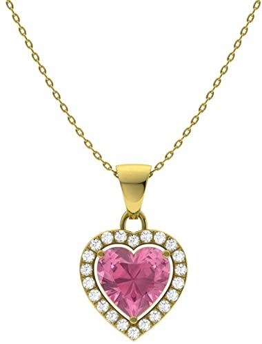 Diamondere - Collana con ciondolo a forma di cuore in oro massiccio 9 carati, con pietre naturali e certificate, con catenina da 0,47 carati