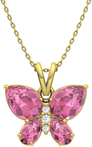Diamondere - Collana con ciondolo a forma di farfalla, in oro 9 carati, con pietre naturali e certificate, con catenina da 0,95 carati