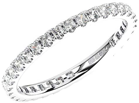 F/VS - Anello Eternity in platino 950 con diamanti taglio principessa da 1,00 ct