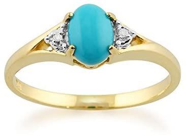 Gemondo - Anello in oro giallo 9 kt, con turchese ovale da 0,66 carati, con diamanti