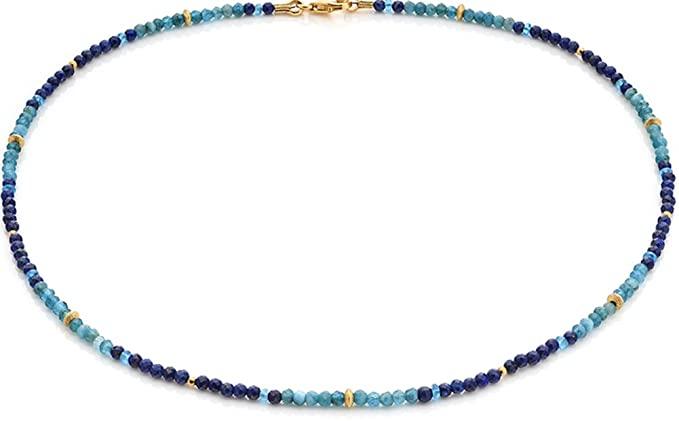 Gioielli disegno SKIELKA Lapislazzuli e Apatite catena Blue Spirit (in argento Sterling 925, placcato in oro) di alta qualità gemma catena – Con esperienza