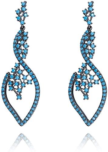Gnzoe Orecchini da donna creati-turchesi Foglia Orecchini Gocce e pendenti Blu