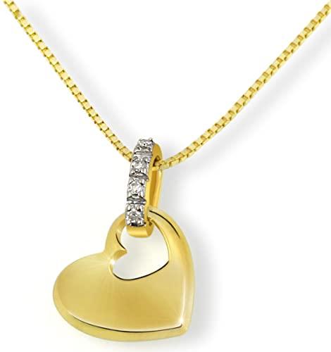 Goldmaid - Collier da donna con diamante (0,02 ct), oro giallo 14k (585), 450 mm, cod. He C3702GG