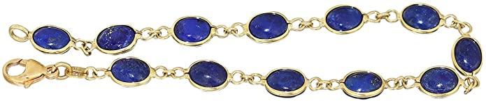 Hobra-oro braccialetto 18 carati con LAPIS - lapislazzuli Bracciale 19019016 - Bracciale in oro Bracciale da