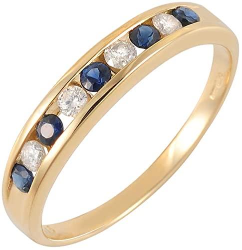 Ivy Gems - Anello da donna Half Eternity in oro giallo 9 kt, con zaffiro blu e diamanti