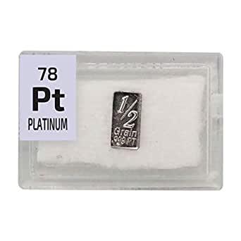 Lingotto di platino 1/2 grano (0,032 grammi). Purezza 99,9%. In una piastrella acrilica elemento periodico utile