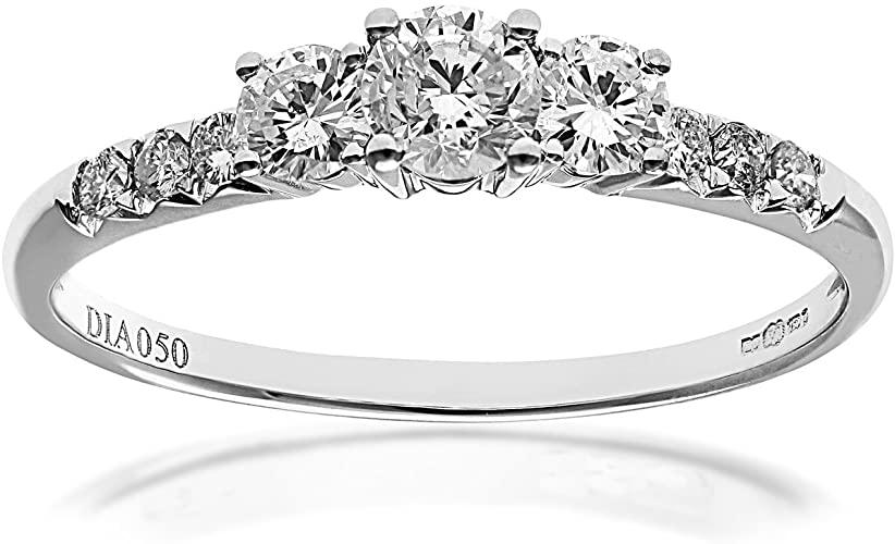 Naava Anello di Fidanzamento in Oro Bianco 18K con Diamante
