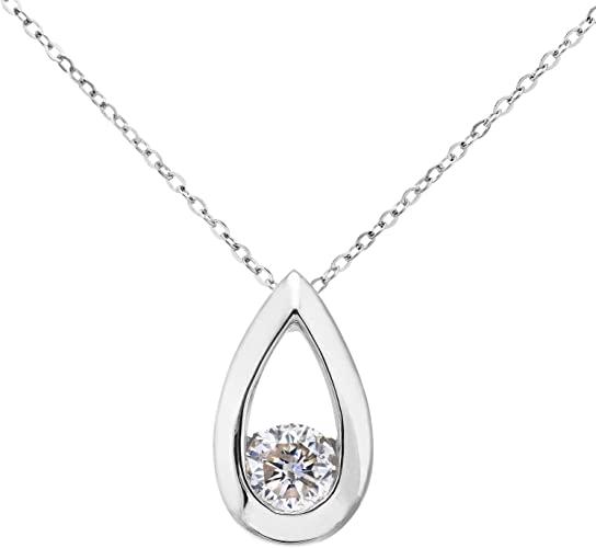 Naava Ciondolo da Donna, in Oro Bianco 9K, con Diamante, Taglio Brillante Rotondo