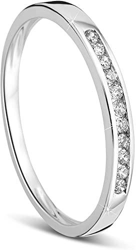 Orovi, fede nuziale Memoire, anello per matrimonio in oro bianco 14 carati (585) con brillanti da 0,10 carati, anello di fidanzamento, anello con diamanti