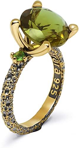 Rara Jewelry - Anello in argento Sterling 925, placcato in oro e rodio nero
