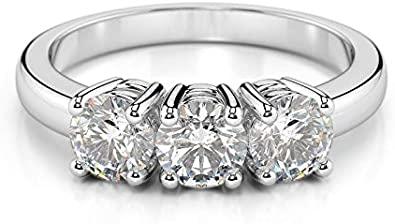 Scermino Gioielli Anello Trilogy in Oro Bianco : Diamanti Naturali D VS1 da 1.50 CARATO Certificato