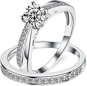 Sreema London - Set di Anelli fidanzamento e matrimonio da donna in Argento Sterlina 925, pietra solitario di Zirconia Cubica in taglio Rotondo con accento Milligrana, completo di scatola regalo
