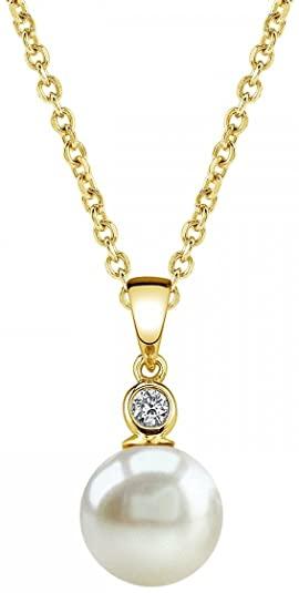The Pearl Source Michelle - Ciondolo con perla Akoya coltivata e diamante di colore bianco, su oro 14k, misura: 7,5-8 mm