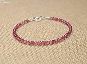 Tormalina rosa braccialetto, rosa tormalina gioielli 3 mm gioiello, portafortuna,