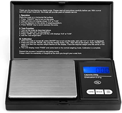 Acale Bilancia Digitale - Bilancia Elettronica Mini Portatile Bilancia 200g x 0.01g, Digital PRO Pocket Bilancia con Display LCD Retroilluminato
