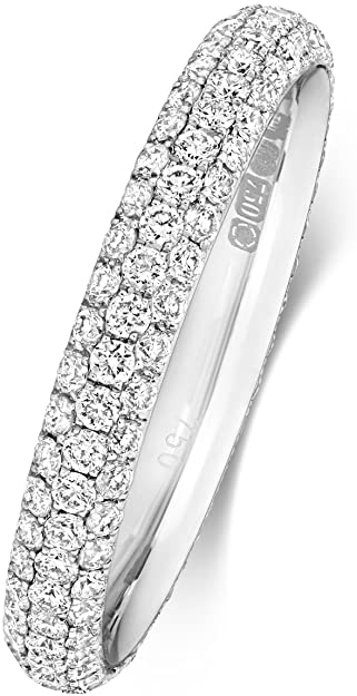 Anello Fede Nuziale da Donna Eternità 2,9mm in Platino 950 e Diamante Brillante 0.97 Carat G - VS WJS18736PT950