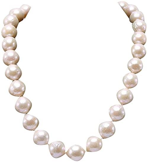 """Collana JYX Huge White Edison rotonda con perle d'acqua dolce da 13""""a 18"""" 18"""""""