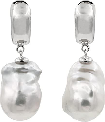 Orecchini di perle d'acqua dolce da donna con perle barocche o Keshi Grande XL bianche più di 14 mm di SECRET & YOU - Argento sterling 925 placcato in oro 18k o rodio