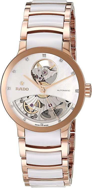 Rado Centrix Open Heart da donna orologio bracciale diamante 33 mm due Ton vetro zaffiro automatico r30248902