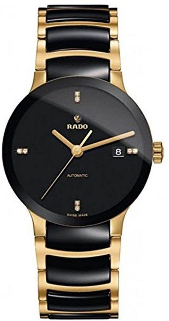 Rado, Centrix, orologio da uomo, con quadrante nero. Ceramica nera e placcatura in oro. R30035712