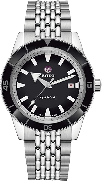 Men's 42mm Steel Bracelet Case S. Sapphire Automatic Black Dial Analog Watch R32505153