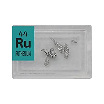 Rutenio Metal Rari Cristalli Ru 0,2 g 99,99%+ puro campione in una Mini Periodic Element Tile