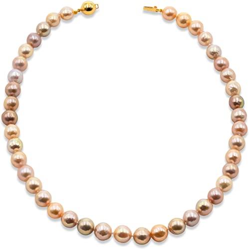 Secret & You Collana di Perle Coltivate d'Acqua Dolce Semi-Barocche da Donna 45 cm di Lunghezza Perle Semi-Barocche 9-10 mm con Glitter Metallico e Nodo tra Ogni Perla